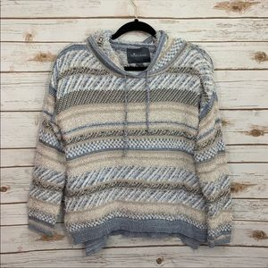 Paper Crane Eyelash Hooded Blue Gray Hood Sweater